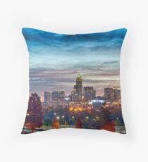 charlotte north carolina skyline morning sunrise Throw Pillow
