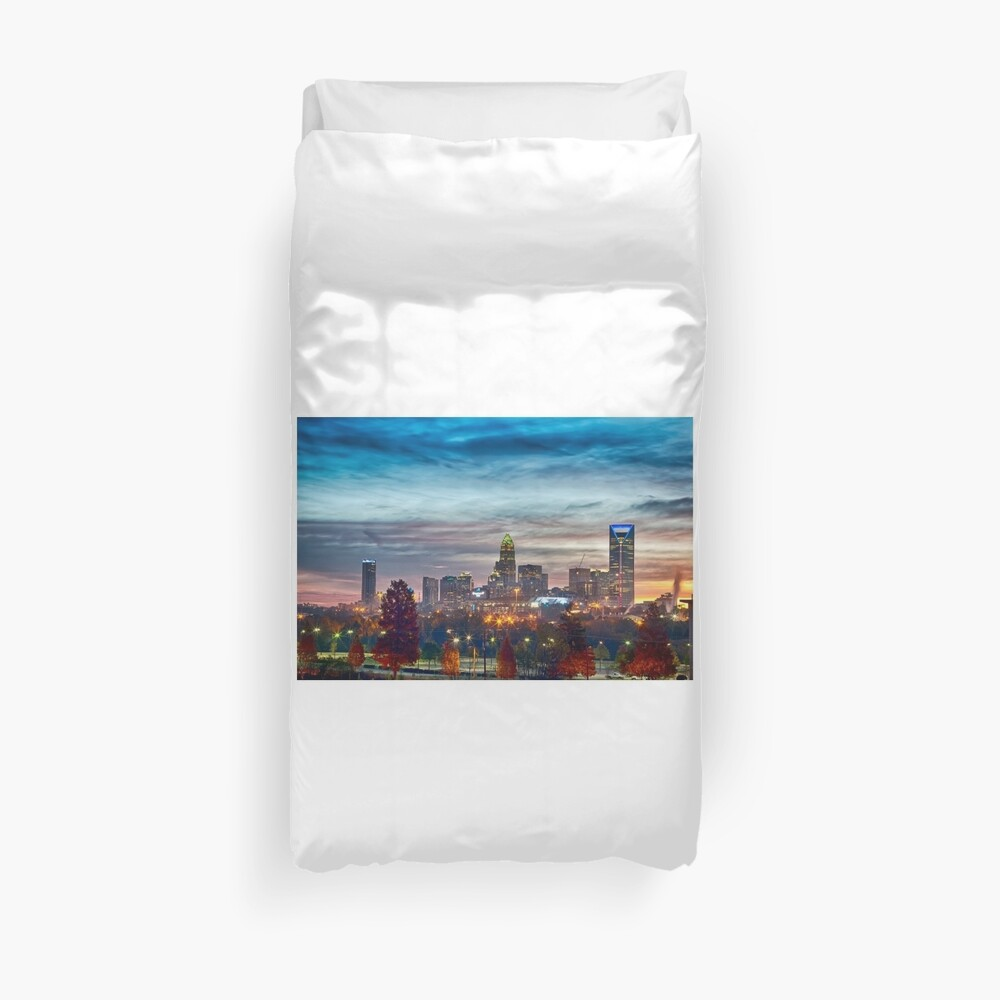 charlotte north carolina skyline morning sunrise Duvet Cover