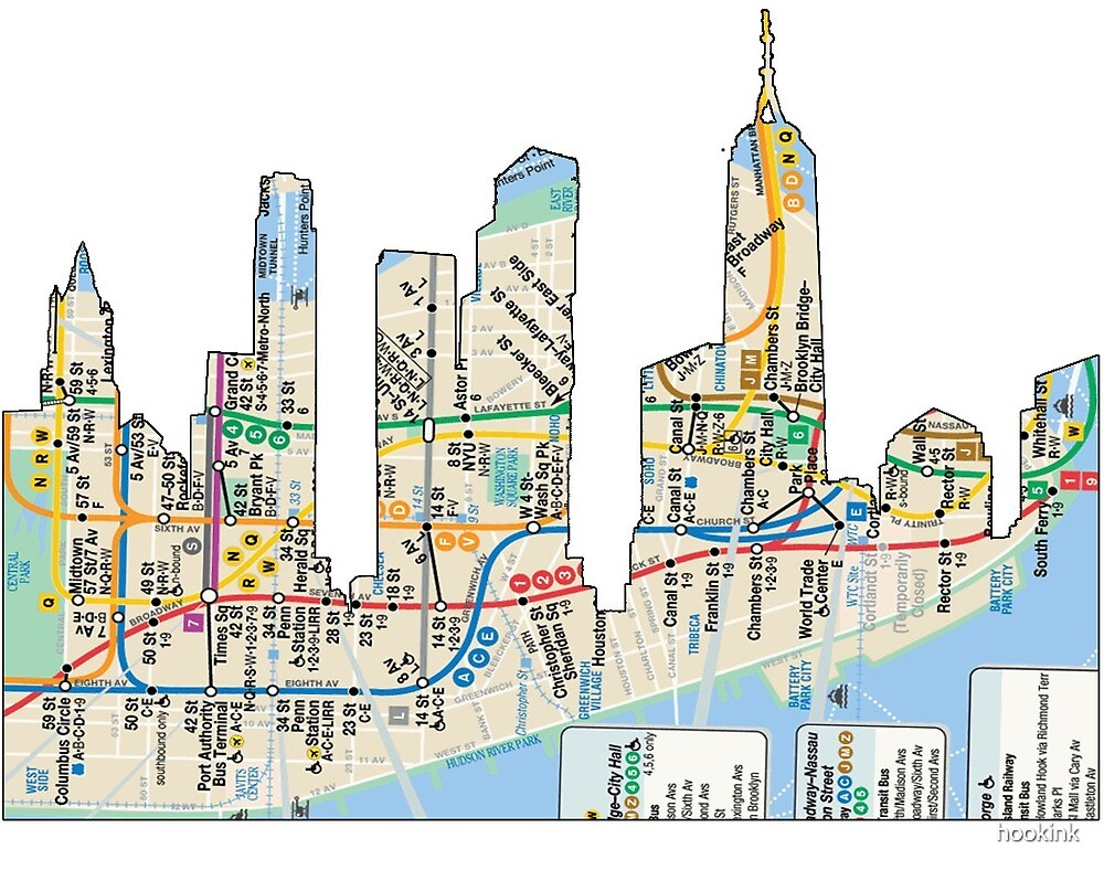 NYC Subway map NYC CIty Skyline including empire state building by hookink