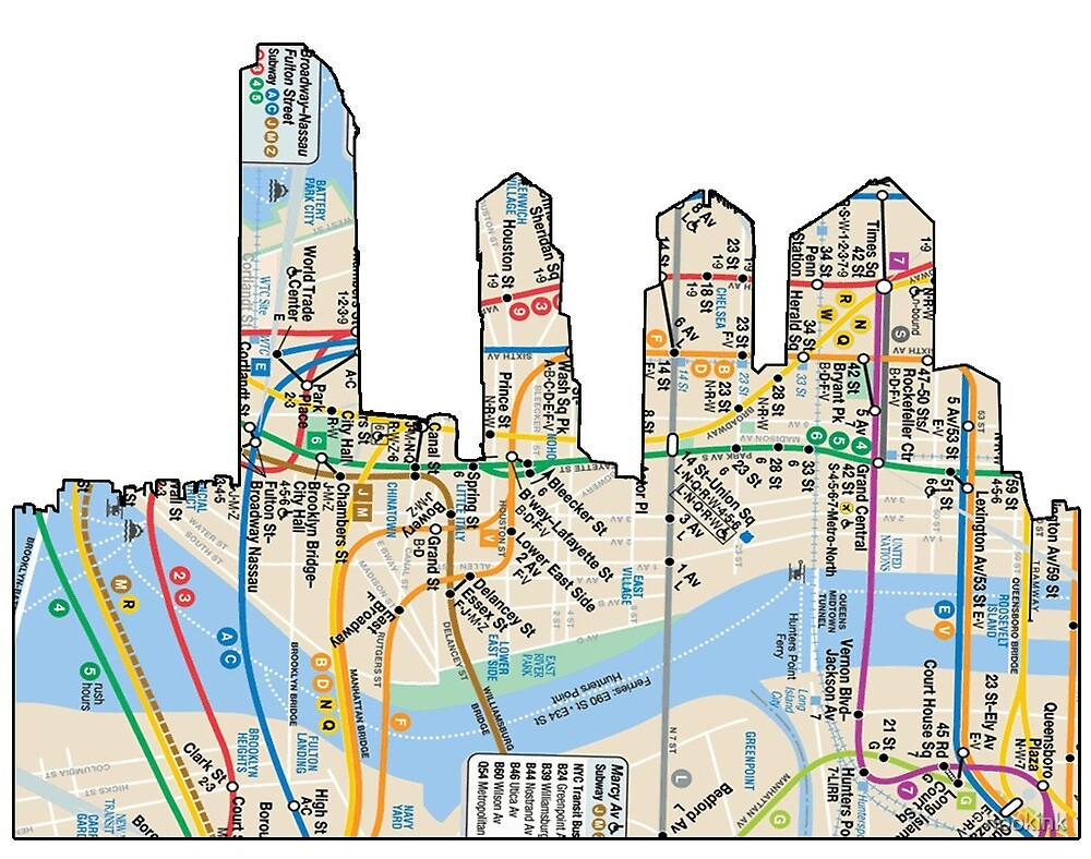 Subway Map From 14th To Chambers.Nyc Subway Map Down Town New York City Freedom Tower By Hookink