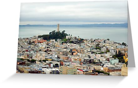 Coit Tower and bay by photoeverywhere