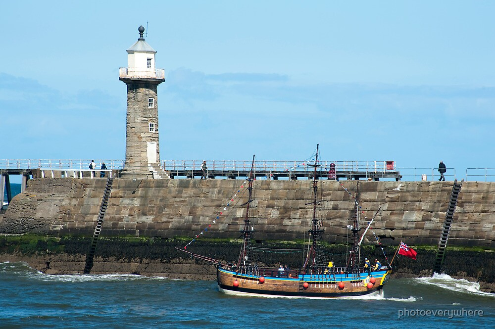 Whitby Pier and Bark Endeavour replica by photoeverywhere