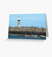 Whitby Pier and Bark Endeavour replica Greeting Card