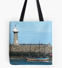 Whitby Pier and Bark Endeavour replica Tote Bag