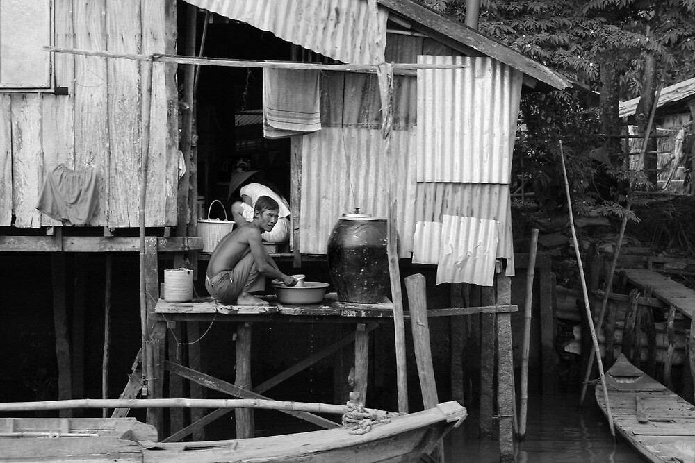 Canal Life B&W by Jordan Miscamble