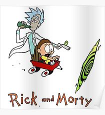 Calvin and Hobbes, Rick and Morty Poster