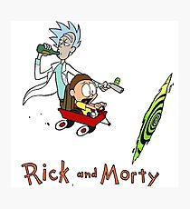 Calvin and Hobbes, Rick and Morty Photographic Print