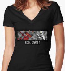 Run, Robot! Women's Fitted V-Neck T-Shirt