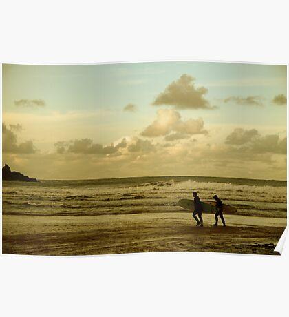 Surfers - Harlyn Bay, Cornwall Poster