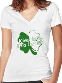 Kiss Me, I'm Ir-ish Women's Fitted V-Neck T-Shirt