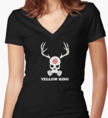 True Detective - Yellow King Gas Mask - White Women's Fitted V-Neck T-Shirt