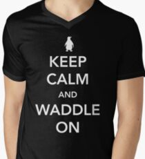Penguin. Keep calm and waddle on Men's V-Neck T-Shirt