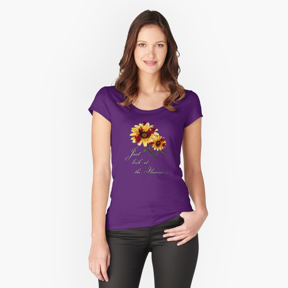 Look at the Flowers Tailliertes Rundhals-Shirt