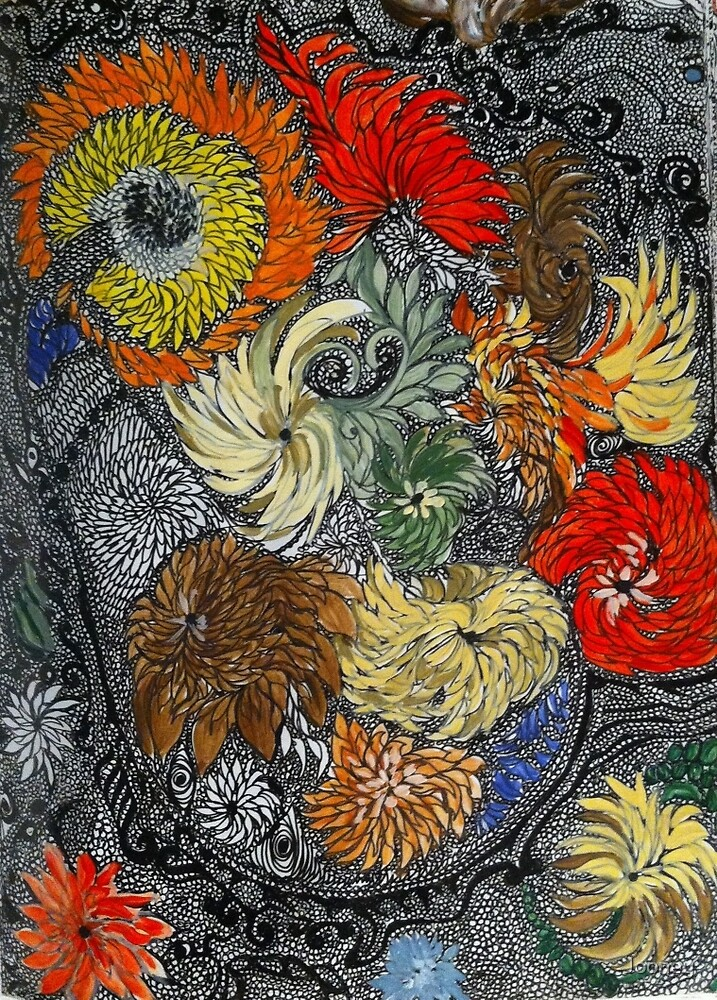 Extreme Zendoodle Flowers by Jooney