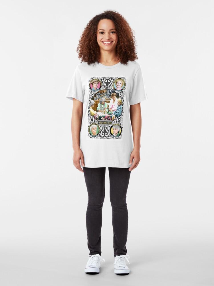 Alternate view of Golden Girls. Blanche, Rose, Dorothy and Sophia. Slim Fit T-Shirt