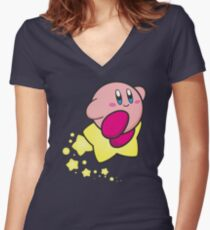 Ride on Kirby Women's Fitted V-Neck T-Shirt
