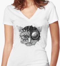 Owl Day & Owl Night Women's Fitted V-Neck T-Shirt