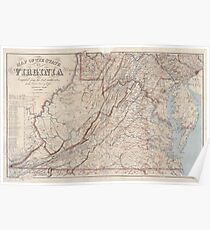 Civil War Maps 0990 Map of the state of Virginia Poster
