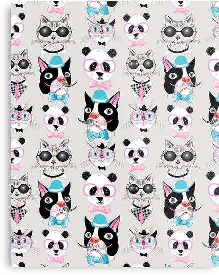 pattern of retro hipster animal portraits  by Tanor