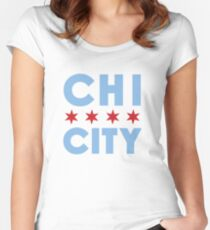 Chi City White Vneck Tee Women's Fitted Scoop T-Shirt