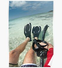 Man with snorkeling equipment Poster