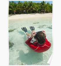 Man snorkeling in shallow water Poster