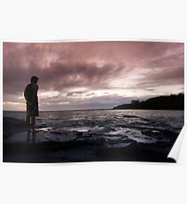 Man watching a marine sunset Poster