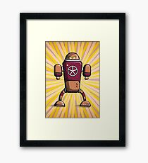 Retro robot – old orange Framed Print