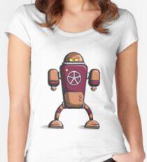 Retro robot – old orange Women's Fitted Scoop T-Shirt