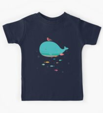 Cute Blue Whale and Bird  Kinder T-Shirt