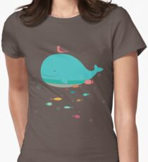 Cute Blue Whale and Bird  T-Shirt