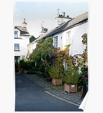 Whitewashed cottages in Hawkshead Poster