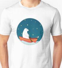 Polar bear and Bird on a boat  Unisex T-Shirt