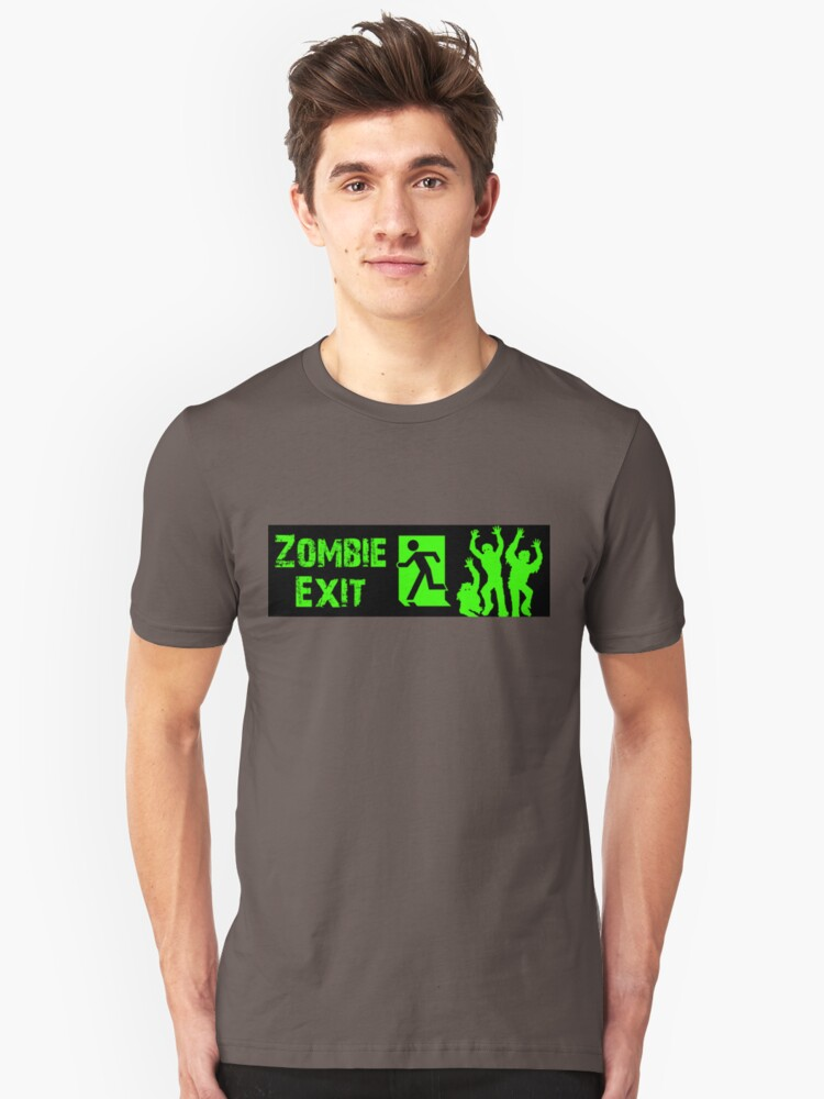 ZOMBIE EXIT SIGN by Zombie Ghetto Unisex T-Shirt Front