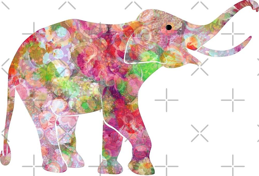 Colorful Watercolors Elephant Modern Illustration by artonwear