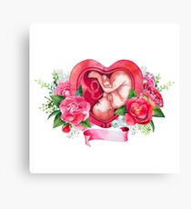 Watercolor fetus inside the womb Canvas Print