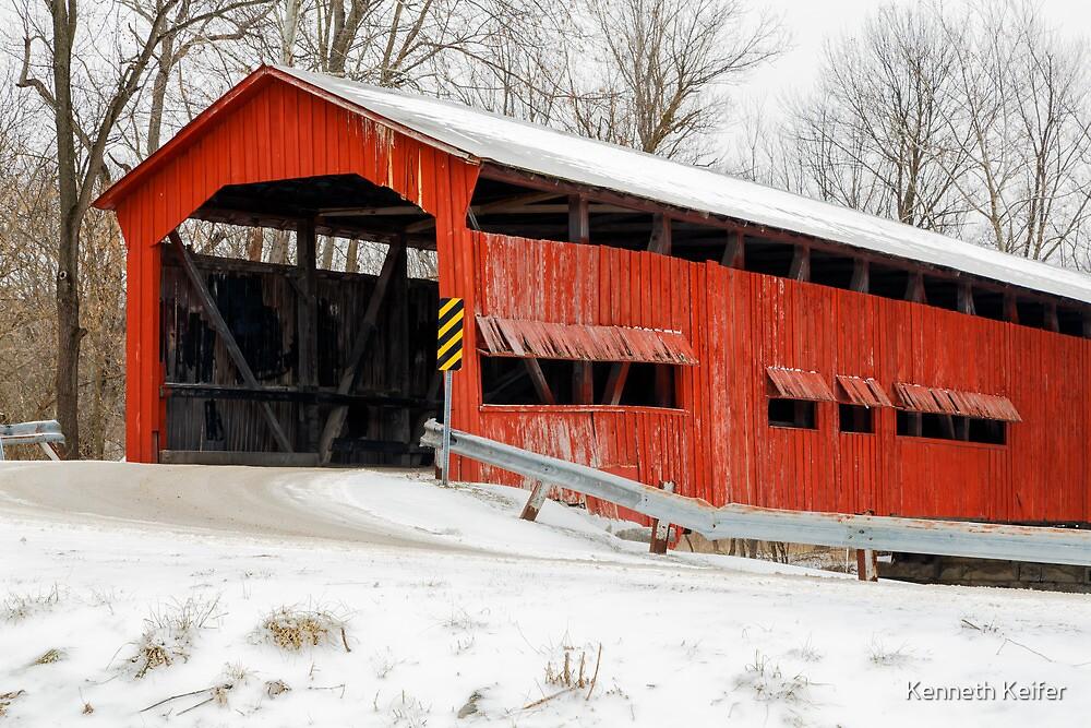 Dunbar Covered Bridge with Snow by Kenneth Keifer