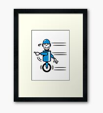 Funny cool fast funny goofy robot comic Framed Print