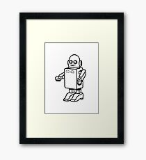 Robot funny cool design funny cartoon Framed Print