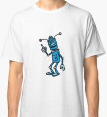 Robot funny cool attention fun comic Classic T-Shirt
