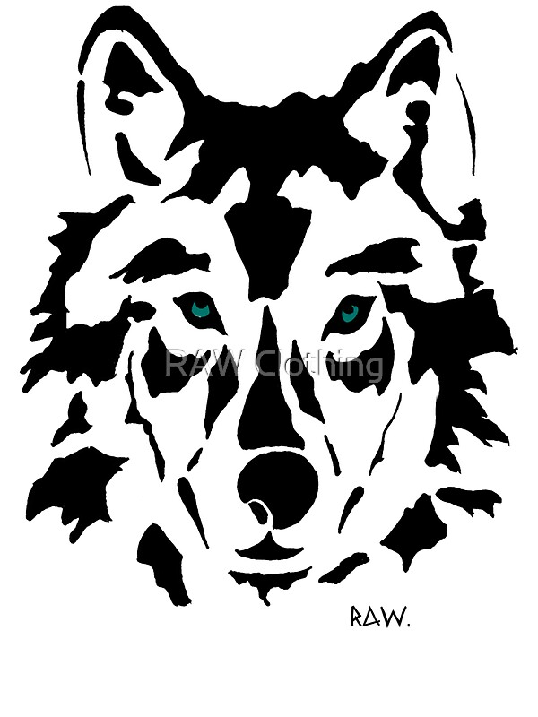 raw wolf stencil tee stickers by raw clothing redbubble. Black Bedroom Furniture Sets. Home Design Ideas