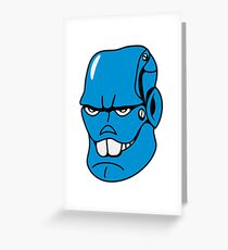 Robot monster cool comic face Greeting Card
