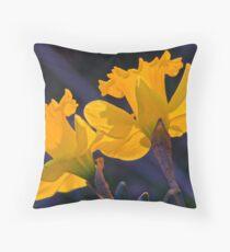 Daffodils in the setting sun.  ( 2 ) Throw Pillow