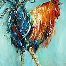 Rooster on blue  by artistpixi