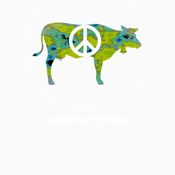 GROOVY MOO t shirt (in planet earth) cow peace love by alpenmama