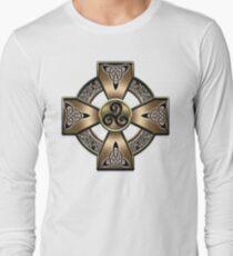 Gold Celtic Cross  Long Sleeve T-Shirt