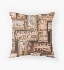 Vintage French Wine Corks Throw Pillow