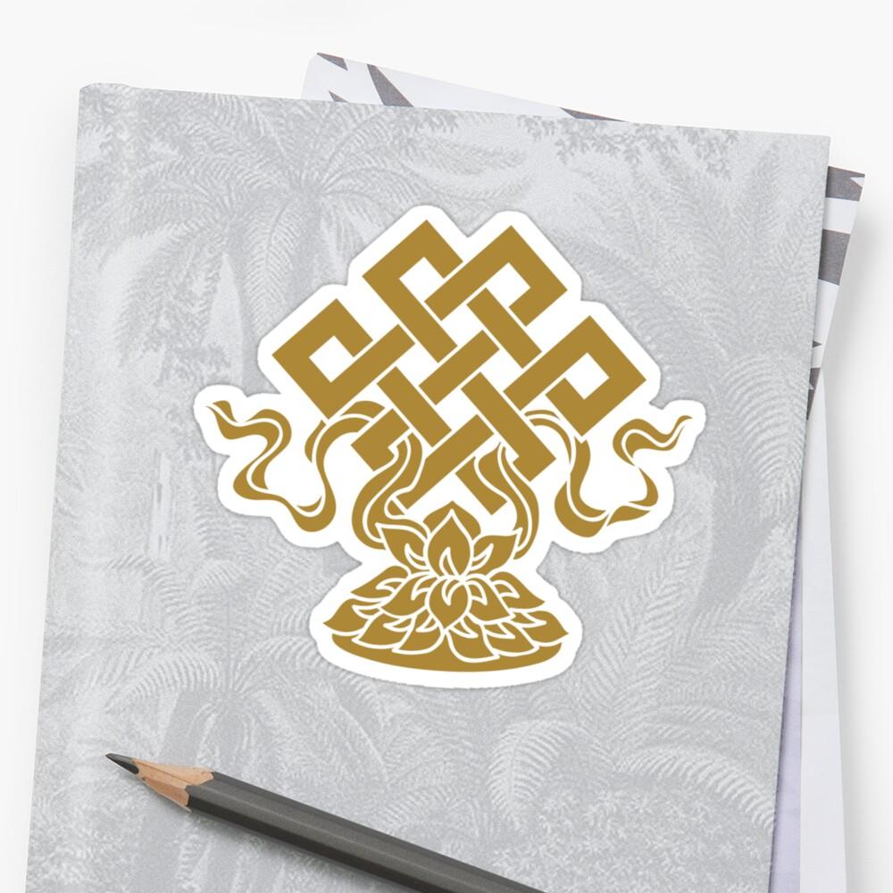 Eternal Knot Lotus Flower Buddhism Auspicious Symbol Stickers By