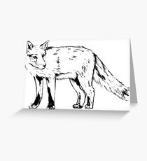 Sly Fox Black Sketchy Outline Greeting Card