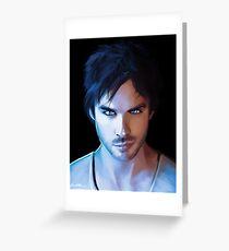Damon Salvatore Vampire Diaries Fan Art Print Greeting Card